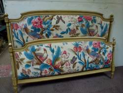 French painted Kingsize upholstered bedstead At Staveley Antiques