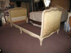 Light Walnut with burr walnut veneer Kingsize bedstead At Staveley Antiques
